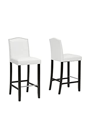 Baxton Studio Libra Modern Bar Stool with Nail Head Trim, Set of 2 (White)