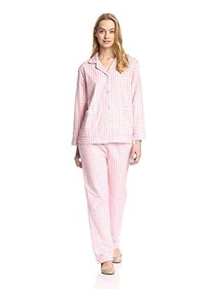 Aegean Apparel Women's Gingham Print Flannel Pajama Set