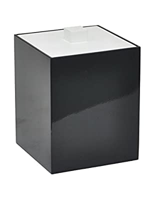 Three Hands Wooden Box with Peg Top Lid, Black/White