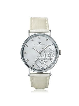 Christian Van Sant Women's CV2211 Fleur White/White MOP Leather Watch