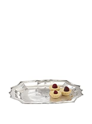 Grand Hotel Antiqued Pewter Beaded Edge Scalloped Tray