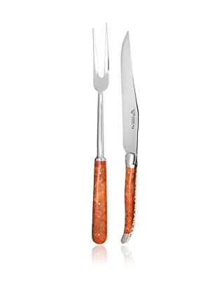 Laguiole en Aubrac 2-Piece Carving Set, Coral Handle