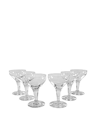 Set of 6 Etched Coupe Champagne Glasses, Clear