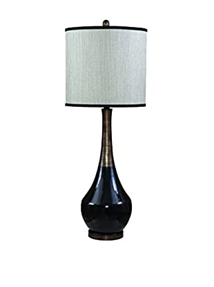 Bassett Mirror Co. Babson 1-Light Table Lamp, Black/Antique Silver