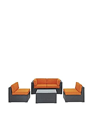 Modway Camfora 5-Piece Outdoor Patio Sectional Set (Espresso/Orange)