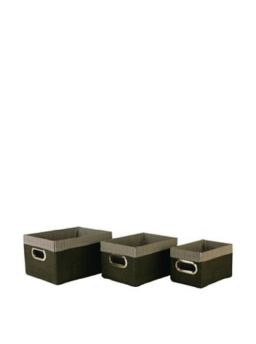 Wald Imports Set of 3 Woven-Paper Storage Baskets (Black)