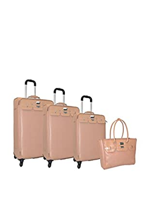 Adrienne Vittadini Saffiano 4-Pc Luggage Set, Natural