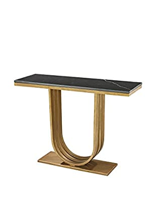 Artistic Lighting Leaf Marble Olympia Console, Antique Gold/Black