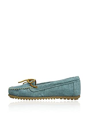 Minnetonka Slippers Canvas Moc (Azul)
