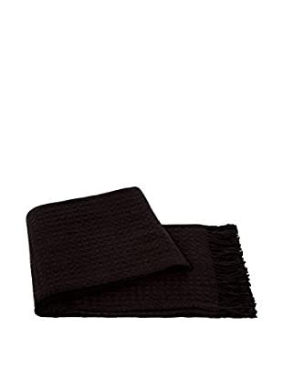 a & R Cashmere Waffleweave Throw, Chocolate