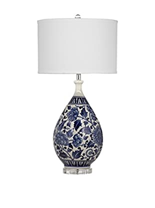 Bassett Mirror Company Elwell 1-Light Table Lamp, Royal/White
