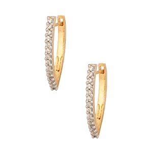 Voylla Cz With Modish Design, Gold Plating Hoop Earring for Women