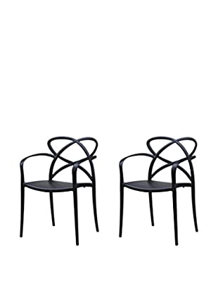 Manhattan Living Set of 2 Script Dining Chairs, Black