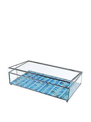 American Atelier Herringbone Glass Display Box, Blue