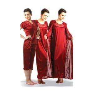 Cole 4 Pcs Satin Nightwear