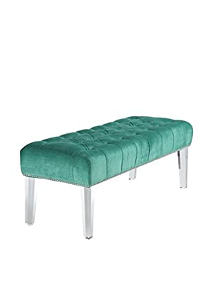 TOV Furniture Stella Velvet Lucite Bench, Green