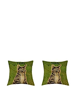 LITTLE FRIENDS by MANIFATTURE COTONIERE Kissenbezug 2er Set Tabby Cat