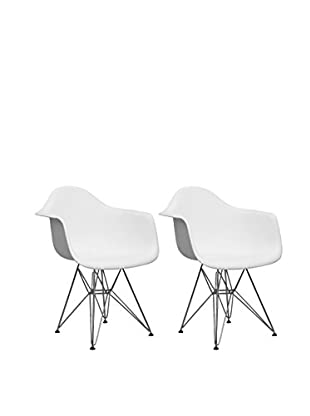 Manhattan Living Wire Leg Dining Arm Chair, White