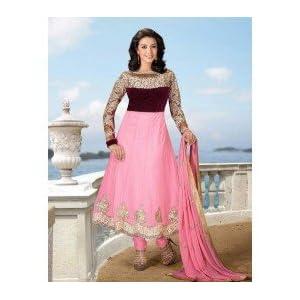 Pink Net with Resham,Zari,Sequince,Lace,Stone Work Unstitched Anarkali Salwar Kameez Suit