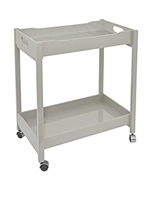 Three Hands Bar Cart with Mirror Tray, Grey