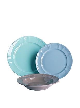 Enjoy Home  Geschirr 18 tlg. Set azurblau/himmelblau/grau