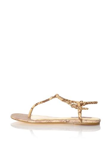 Ted Baker Women's Ajania T-Strap Sandal (Nude Exotic)