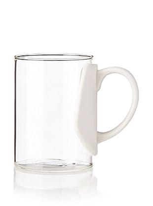 Seletti Minimal Era Glass Mug with a Porcelain Handle