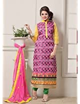 Saara Pink And Green Embroidered Dress Material - 142D3036