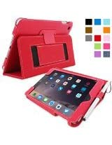 iPad Mini 3 Case, Snugg - Smart Cover with Kick Stand & Lifetime Guarantee (Red Leather) for Apple iPad Mini 3 (2014)