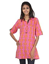 Rajrang Cotton Kurti - PTP00013 (Pink, Yellow)