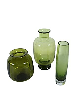 Set of 3 Mid-Century Olive Art Glass Vases