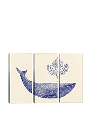 Terry Fan Damask Whale #1 Gallery Wrapped Canvas Print, Triptych
