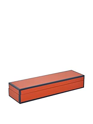 Three Hands Orange Shallow Rectangle Wood Box