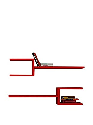 Best seller living Set Estantería De Pared 2 Uds. Fork Rojo