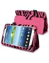 eForCity Leather Case with Stand Compatible with Samsung Galaxy Tab 3 7.0 Kids / Galaxy Tab 3 7.0 P3200, Pink/ Black Zebra(PSAM3200LC29)