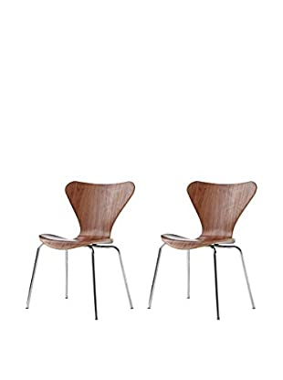 Manhattan Living Set of 2 Jays Dining Chairs, Walnut