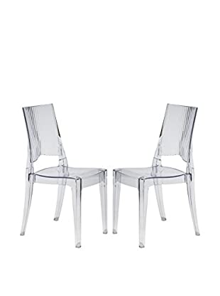 LeisureMod Set of 2 Delco Transparent Dining Modern Chairs, Clear
