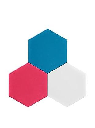 Nine6 Design Set of 3 Magnetic Dry Erasable Wall Panels, Magenta/Turquoise/White