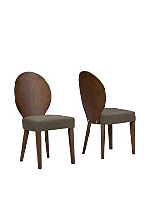 Baxton Studio Olivia Set of 2 Dining Chairs, Brown/Hazel
