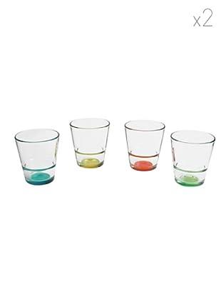 Pasabahce Set 8 Bicchieri Acqua Multicolore
