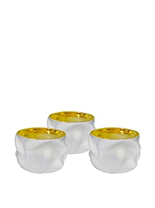 Waylande Gregory Set Of 3 Candle Holders, White/Gold
