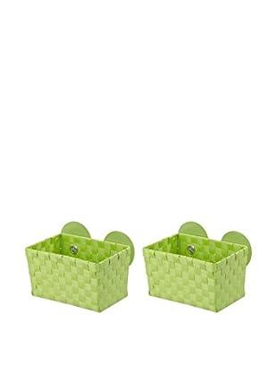 Wenko Aufbewahrungskorb 2er Set grün 20,5 x 14,5 x 14
