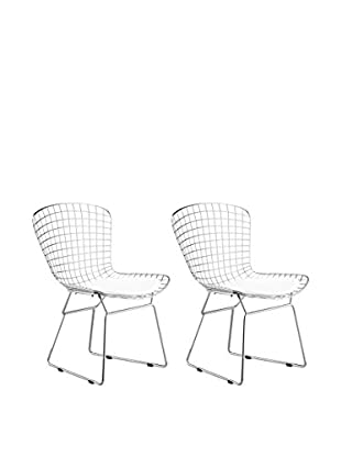 Manhattan Living Set of 2 Wire Side Chairs, White