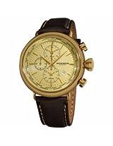 Akribos Cream Dial Chronograph Brown Leather Mens Watch Ak629Yg