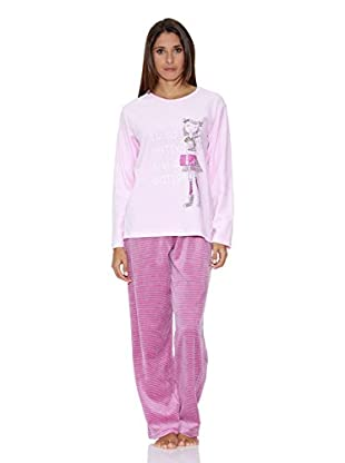 Muslher Pijama Señora Con Cuello Redondo Estampado Niña Pantalon A Rayas (Rosa)