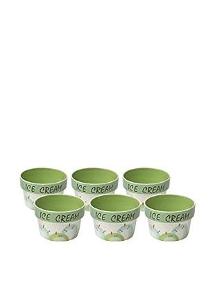 Woodard & Charles Set of 6 Ice Cream Bowls, Green