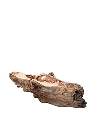 Artistic Long Teak Root Bowl With Copper Insert, Natural Teak/Copper