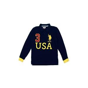 U.S. Polo Assn. Kids Boys Navy Blue Printed T-shirt
