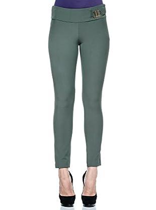 Annarita N Pantalón de Vestir Skinny/Aderente (Verde Oliva)