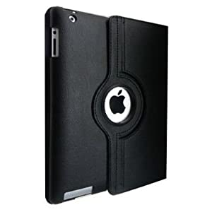 Black 360 Degree Rotating Leather Smart Cover Case Stand for Apple iPad 4 (With Wake up and Sleep Function) +Free Veegee Stylus
